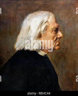 Portrait of the Hungarian pianist and composer, Franz Liszt (1811-1886) by Franz von Lenbach (1836-1904), oil on cardboard, 1884 - Stock Photo