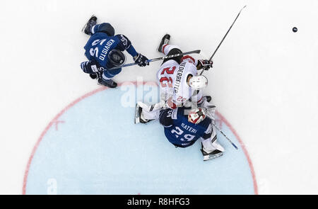 Herning, Denmark. 17th May, 2018. Miika Koivisto, Finland, Harri Sateri, Finland, Nino Niederreiter, Switzerland during the quarterfinal between Finland and Switzerland in the IIHF World Ice Hockey Championship 2018 in Jyske Bank Boxen, Herning, Denmark. Credit: Lars Moeller/ZUMA Wire/Alamy Live News - Stock Photo