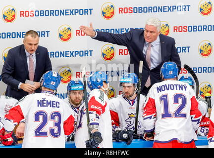 Moscow, Russia. 15th Dec, 2018. MOSCOW, RUSSIA - DECEMBER 15, 2018: The Czech Republic's head coach Milos Riha (R back) gestures in their 2018-19 Euro Hockey Tour Channel One Cup ice hockey match against Russia at CSKA Arena. Mikhail Japaridze/TASS Credit: ITAR-TASS News Agency/Alamy Live News - Stock Photo