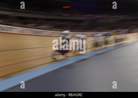 London, UK. 15th December 2018. during Tissot UCI Track Cycling World Cup IV at Lee Valley VeloPark on Saturday, 15 December 2018. LONDON ENGLAND.  (Editorial use only, license required for commercial use. No use in betting, games or a single club/league/player publications.) - Stock Photo