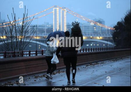 Umbrella Christmas Tree Uk.London Uk Albert A Couple With Umbrella And Christmas Tree