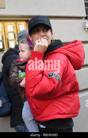 Milan, Italy. 14th Dec, 2018. Milan, Elisabetta Canalis arrives in Milan with her daughter Skyler Eva. in the picture: Elisabetta Canalis, Skyler Eva 14, 12, 2018 Milano Italy Credit: Independent Photo Agency/Alamy Live News - Stock Photo