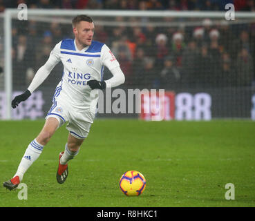 London, UK. 15th December 2018.  Leicester City's Jamie Vardy during Premier League between Crystal Palace and Leicester City at Selhurst Park stadium , London, England on 15 Dec 2018. Credit Action Foto Sport  FA Premier League and Football League images are subject to DataCo Licence. Editorial use ONLY. No print sales. No personal use sales. NO UNPAID USE. Credit: Action Foto Sport/Alamy Live News - Stock Photo