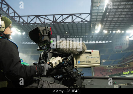 Milan, Italy. 15th Dec 2018. A tv crew films before the Serie A football match, Inter Milan vs Udinese Calcio at San Siro Meazza Stadium in Milan, Italy on 15 December 2018 Credit: Piero Cruciatti/Alamy Live News - Stock Photo