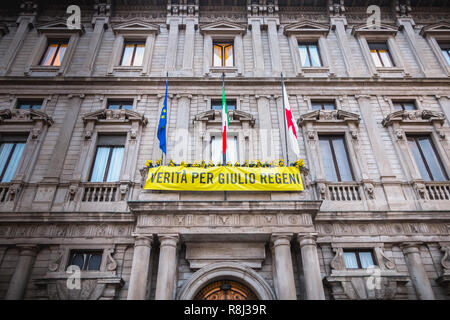Milan, Italy - November 2, 2017: on the facade of the Milan City Hall, a yellow banner or it is written in Italian - truth for Giulio Regeni - Stock Photo