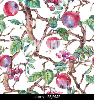 Watercolor summer vintage floral seamless pattern with branches of apple trees and apples fruit, botanical illustration on white background - Stock Photo