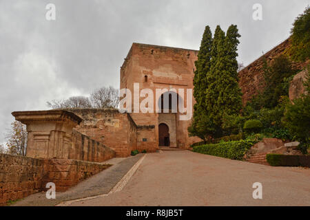 Gate, side entrance of Alhambra moorish castle, Granada Download preview Gate tower tower of Alhambra medieval moorish castle, Granada, Spain - Stock Photo