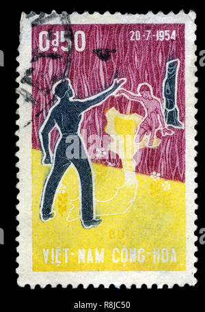 Postage stamp from South Vietnam in the Reunion series issued in 1964 - Stock Photo