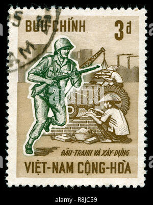 Postage stamp from South Vietnam in the Third anniversary of the revolution series issued in 1966 - Stock Photo