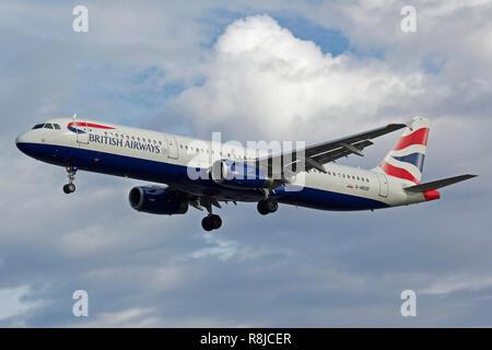 British Airways Airbus A321-231 G-MEDF landing at London Heathrow Airport - Stock Photo