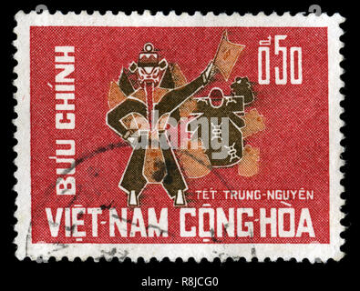 Postage stamp from South Vietnam in the Wandering Souls Festival series issued in 1966 - Stock Photo