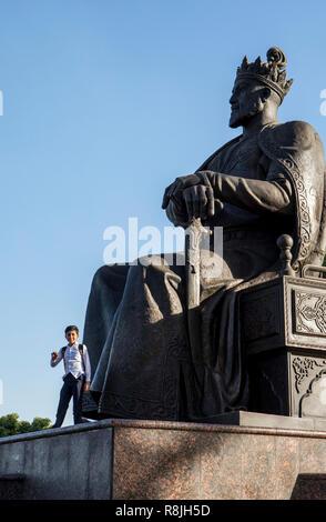 Statue of Amir Timur, also known as Temur and Tamerlane, in Bulvar Universitet, Samarkand, Uzbekistan - Stock Photo