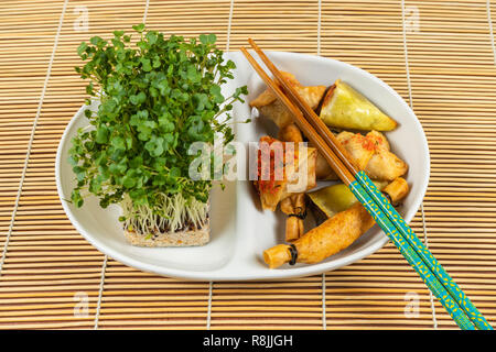 Asian food selection.Duck cones,parcels,baskets with ginger and soy sauce,tikka crackers,cress salad - Stock Photo