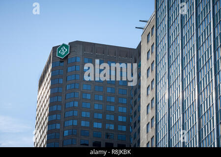 MONTREAL, CANADA - NOVEMBER 4, 2018: Desjardins Bank logo on their main office for Montreal, Quebec, in the Complexe Desjardins. Mouvement Desjardins  - Stock Photo