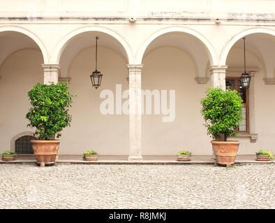 Patio in Gardens of Villa d'Este, Tivoli,  Italy - Stock Photo