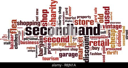 Secondhand word cloud concept. Vector illustration - Stock Photo