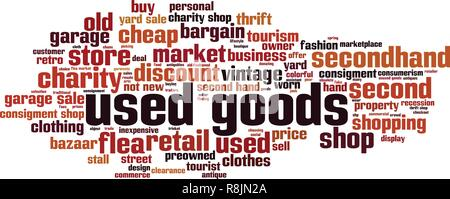 Used goods word cloud concept. Vector illustration - Stock Photo