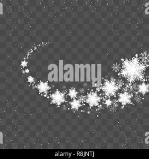 Snow Blizzard Effect. Snow trail. Abstract bright white shimmer glowing scatter falling snowflakes. Vector Illustration on transparent background - Stock Photo