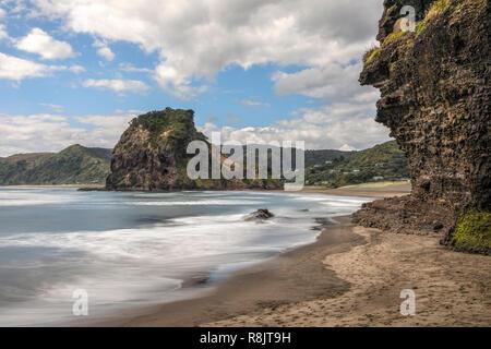 Piha Beach, Auckland, Lion Rock, North Island, New Zealand - Stock Photo