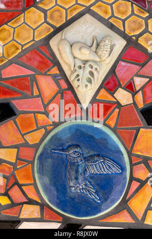 Albuquerque Convention Center tile mosaic (detail) by Cassandra Reid and apprentices - Stock Photo