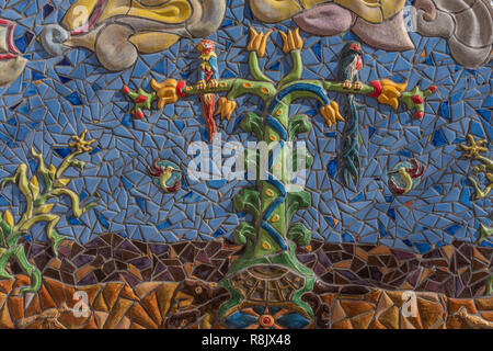 Albuquerque Convention Center tile mosaic (detail) by Cassandra Reid and apprentices: 'Tree of Life' - Stock Photo