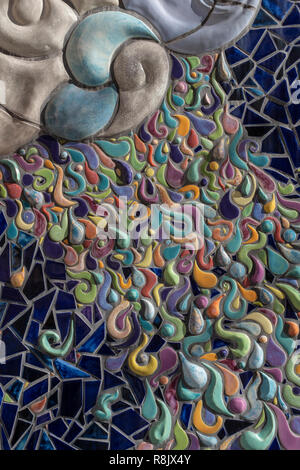 Albuquerque Convention Center tile mosaic (detail) by Cassandra Reid and apprentices: 'Garden of Transformation' - Stock Photo