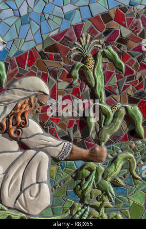 Albuquerque Convention Center tile mosaic (detail) by Cassandra Reid and apprentices : 'Three Sisters' - Stock Photo