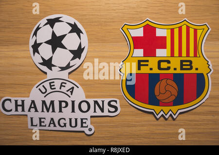 15 December 2018. Nyon Switzerland. The logo of the football club Barcelona and UEFA Champions League. - Stock Photo