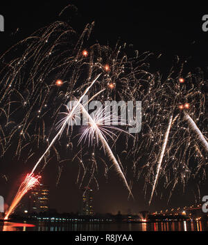 Majestic Glowing Colorful Tropical Coconut trees pattern fireworks light up on dark black sky background. New Year 2019 Celebrating Night Firework. Sp - Stock Photo