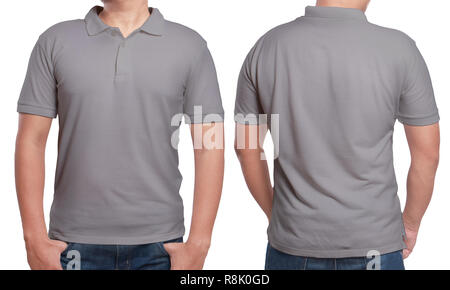 Grey T Shirt Mock Up Front And Back View Isolated Male Model
