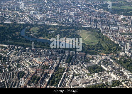 Aerial view of Hyde Park, London - Stock Photo
