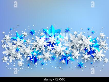 Realistic shine Banner with place for text template. Shine winter decoration on light blue background with snowflakes and stars - Stock Photo