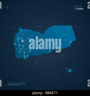 Vector Yemen map illustration with blue neon lightpoints - triangle on dark blue gradient background. Administrative divisions - Stock Photo