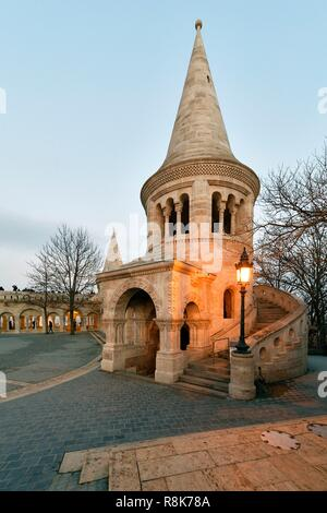 Hungary, Budapest, listed as World Heritage by UNESCO, Buda district, Fisherman's Bastion (Halaszbastya), Neoromanesque style of the end of 19th century on Castle Hill - Stock Photo