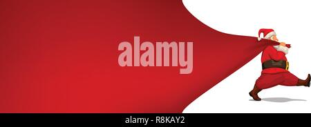 santa claus hold red textile - Stock Photo