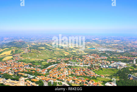 Beautiful Italian landscape. View from heights of San Marino - Stock Photo