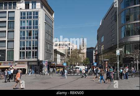 tourists and locals walking in the shopping streets zeil,  grosse eschenheimer, frankfurt am main, germany - Stock Photo