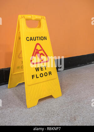 Yellow Caution Slippery Wet Floor Sign Labeled English