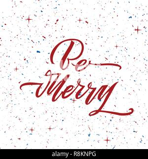 Be Merry Christmas text design. Vector logo, typography. Usable as banner, greeting card, gift package etc. - Stock Photo