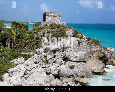 El Castillo, Tulum Ruins, Mexico - Stock Photo