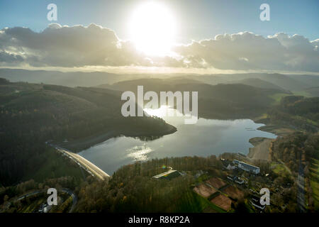 Aerial View, Aerial View, Low Water, Dam, Hennetalsperre, Hennesee, Reservoir, Berghausen, Meschede, Sauerland, North Rhine-Westphalia, Germany, DEU,  - Stock Photo