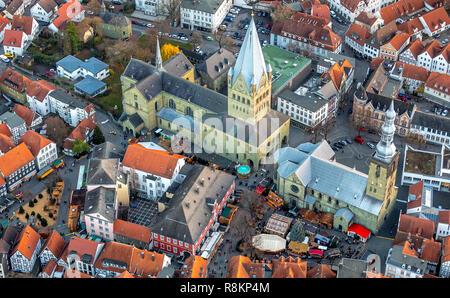 Aerial view, Town Hall, St. Peter's Church, St. Patrokli Cathedral, Christmas Market, Petrikirchhof, Cathedral Square, Old Town Soest, Soest, Soester  - Stock Photo
