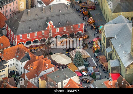 Aerial view, town hall with Christmas market next to St. Peter's Church and St. Patrokli Cathedral, Christmas market, Petrikirchhof, Cathedral Square, - Stock Photo