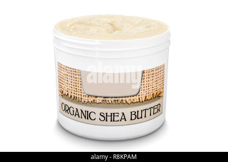 Jar filled with organic pure shea butter isolated on white background - Stock Photo