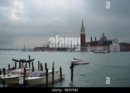 Venice la Sérénissime. Discovery of the city with canals, gondolas and its buildings - Stock Photo