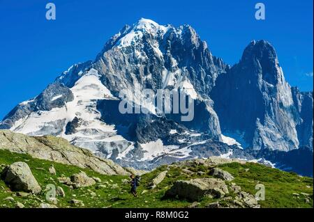 France, Haute-Savoie, Chamonix-Mont-Blanc, Tour du Mont Blanc, Aiguilles Rouges range, Chéserys lake, with Aiguille Verte and les Drus in the back - Stock Photo