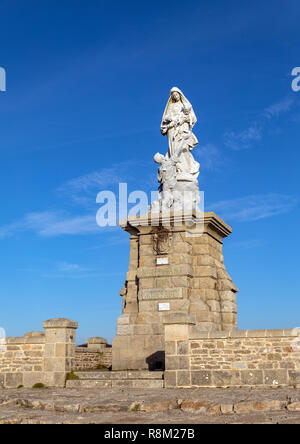 Notre Dame des Naufrages statue on the Raz Point in Plogoff (Finistere, France) - Stock Photo