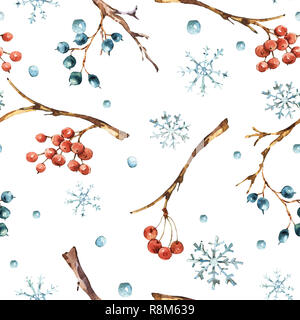 Winter watercolor natural seamless pattern with snowflakes, branches and berries, vintage illustration on white background - Stock Photo