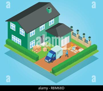 Relocation concept banner, isometric style - Stock Photo