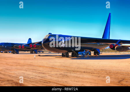 Boeing B52D Stratofortress strategic bomber plane on display at the Pima Air & Space Museum in Tucson, AZ - Stock Photo
